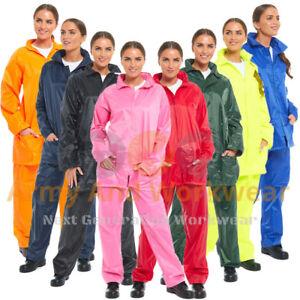 Ladies-Waterproof-Rainsuit-Rain-Suit-Set-Jacket-Trouser-Work-Wear-Adults-Mens