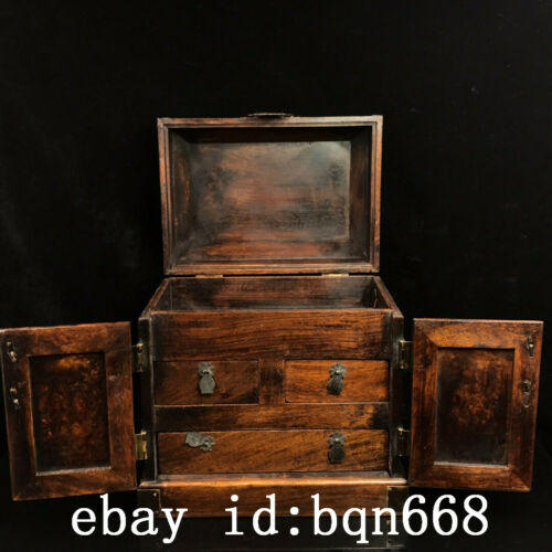 "10/"" Chinese old antique huanghuali wood handmade jewelry box statue"