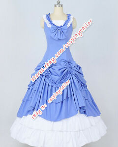 Victorian Gothic Ball Gown Blue White Formal Dress Reenactment ...