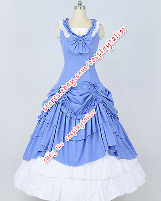 Victorian Gothic Ball Gown Blue White Formal Dress Reenactment Theatre Clothing Ebay