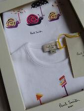 Paul Smith Baby Bib & T-Shirt Boxed Gift Set White 100% Cotton 6M