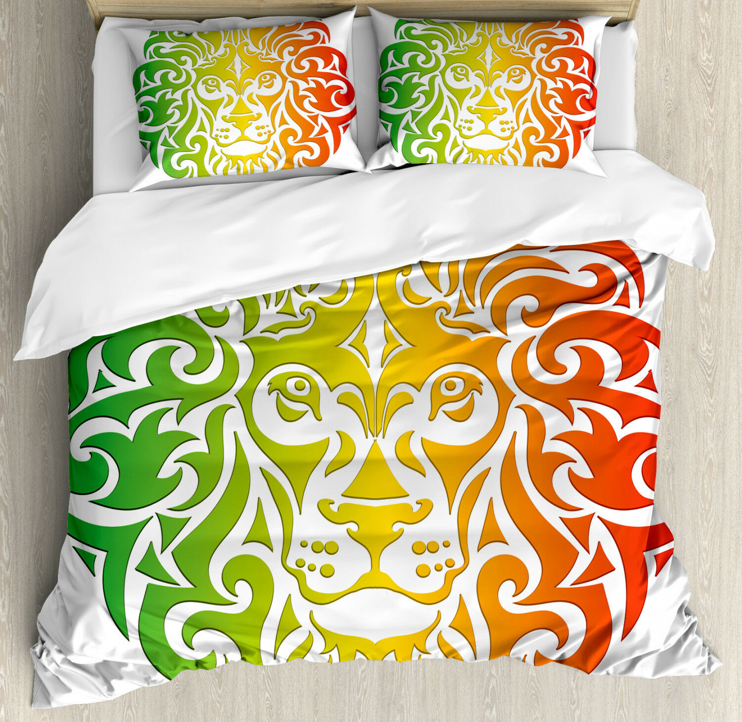 Rasta Duvet Cover Set with Pillow Shams Coloreeful Lion Portrait Print