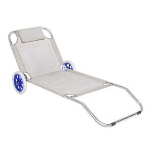 Sdraio Con Ruote Spiaggia.Spiaggina Sdraio Lettino Textilene Carrello In Alluminio Con Ruote