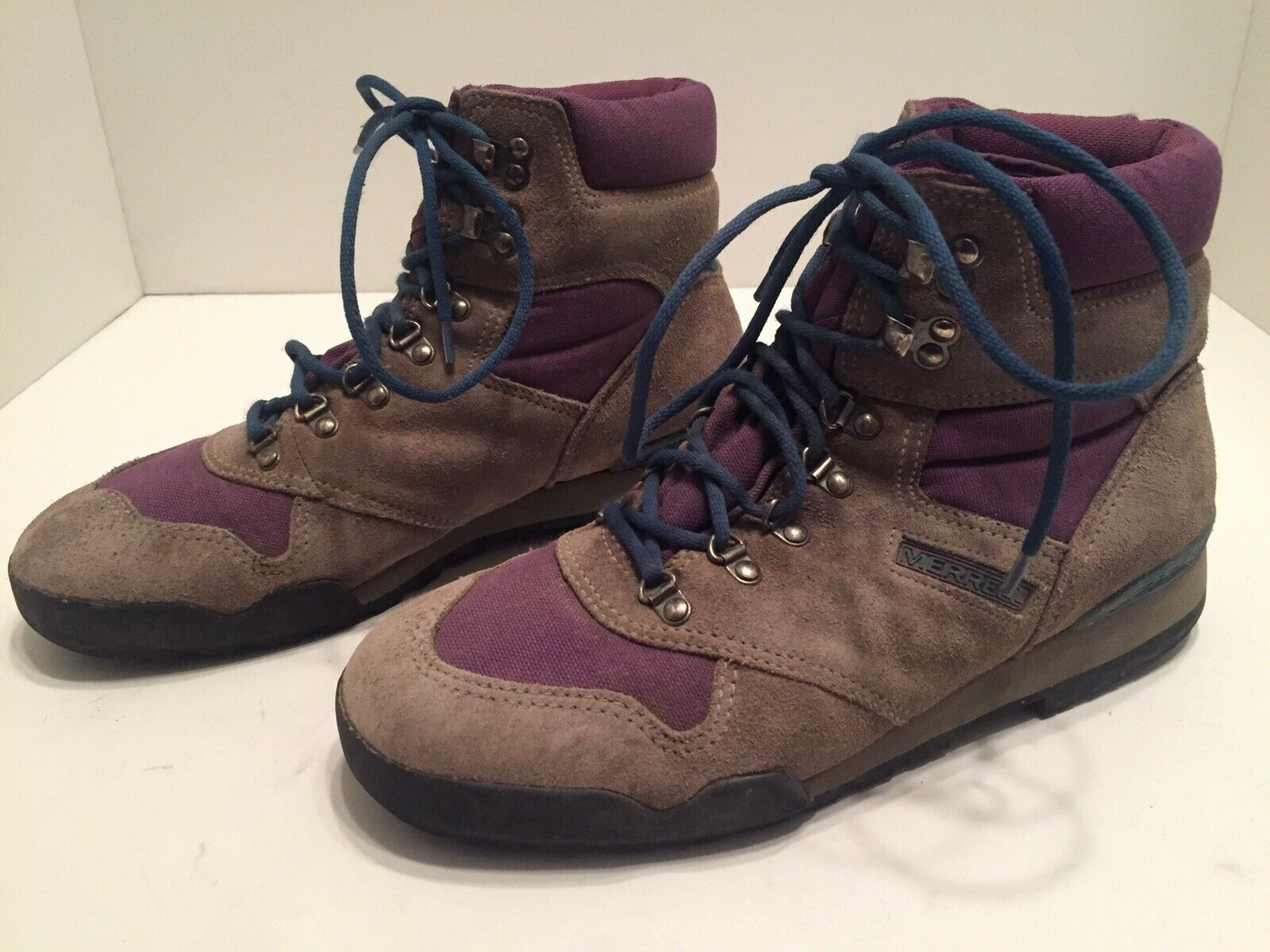 Merrell Spectrum Womens Brown Suede Purple  Teal Lined Hiking Boots Size 11  free shipping & exchanges.