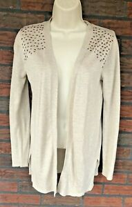 Beige-Sweater-Small-Open-Cardigan-Rose-Gold-Studs-Bling-Long-Sleeve-Soft-Jacket