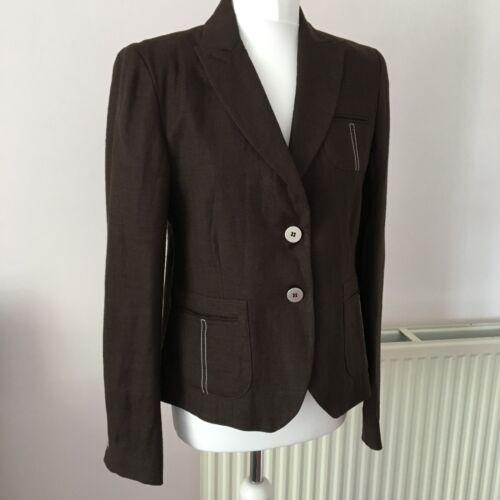 Ladies Sz Linen Cordings 14 46 Jacket Formal Sommer Uk Blazer Smart Brown It fxqd6wCqR