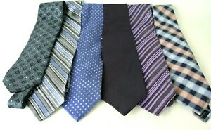 Men-039-s-Assorted-Multi-Color-Dress-Neck-Ties-Lot-Of-6-ALL-SILK-Blue-Colors-1008