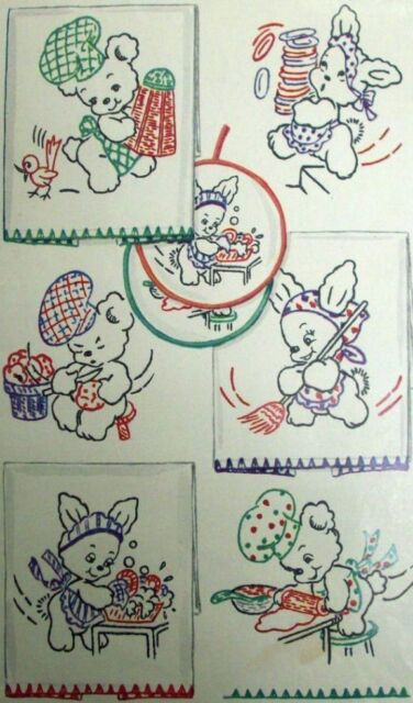 Vintage Embroidery Transfer repo 783 Elephants for Days the Week kitchen towels