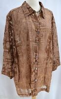 Mirasol Blouse Top Burnout Shirt Button Up Top Semi Sheer 3/4 Sleeve Size 3x