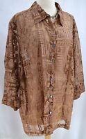 Mirasol Blouse Top Burnout Shirt Button Up Top Semi Sheer 3/4 Sleeve Size 3x