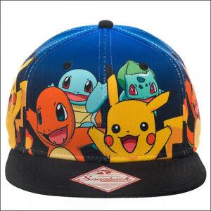 071d5c830cf Image is loading Nintendo-Pokemon-Pikachu-Charizard-Squirtle-Bulbasaur- Snapback-Cap-