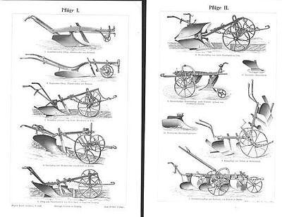 Clever Pflüge Pflug Rajolpflug Beetpflug Bauer Feldarbeit Ernte Holzstich Um 1900
