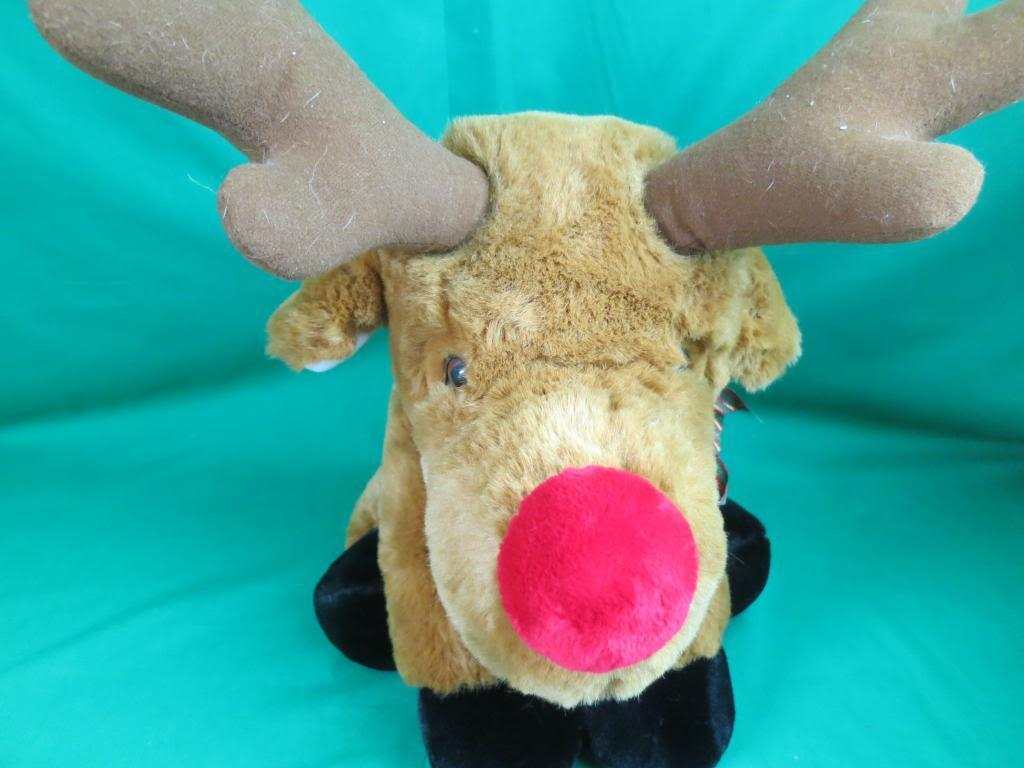 BIG JUMBO NOSE CHRISTMAS RUDOLPH RED NOSED REINDEER PLAID RED BOW PLUSH 1999