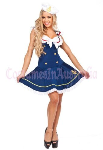 Navy Sailor Blue Girl Uniform Ladies Rockabilly Pin Up Fancy Dress Costume /& Hat