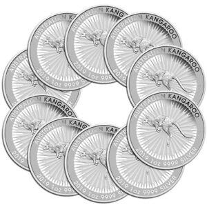10-x-1-oz-Silber-Kaenguru-2019-1-Dollar-Australien-Silbermuenze-999-9