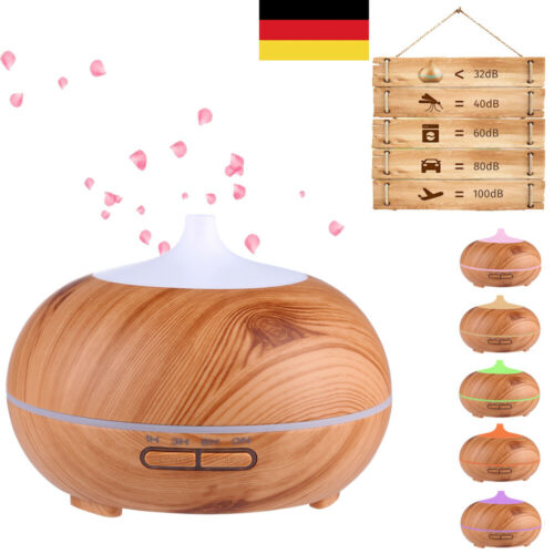 7 Farben Aroma-Diffuser Anypro 300ml Ultraschall Luftbefeuchter Holz Humidifier