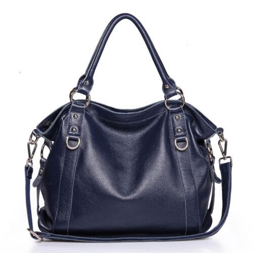 Shoulder Genuine Womens Fashion Navy Handbag Ladies Leather Hobo doreCxB