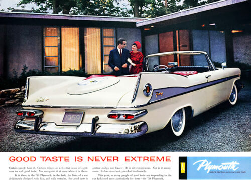"1959 Plymouth Fury /""Good Taste Is Never Extreme/""  Promotional Advertising Poster"