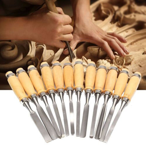 12PCS-Wood-Carving-Hand-Chisel-Set-Woodworking-DIY-Lathe-Gouges-Works-Tools