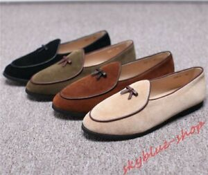 Mens-Loafers-Suede-Leather-Flats-Bowtie-Slip-on-Belgian-Dress-Casual-Shoes