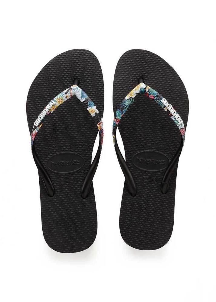 Havaianas Slim Court Femme Flip Flops Sandales En Noir Taille Uk 3 - 8 Bon Pour AntipyréTique Et Sucette De La Gorge