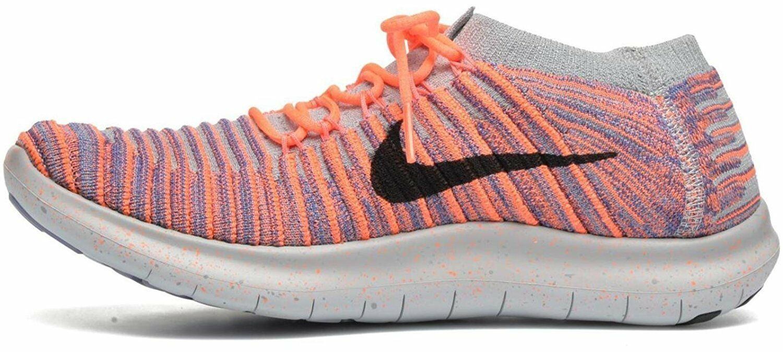 Nike Free RN Motion Flyknit Womens Running shoes Sz 6 Mango Black Purple NIB New