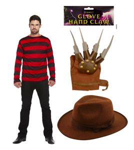 Mens Red//Black Jumper Claw and Explorer Hat Freddy Halloween Fancy Dress