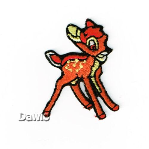 3,2cm Reh Rehkitz Bambi orange//braun Applikation Patch zum Aufbügeln Aufbügler