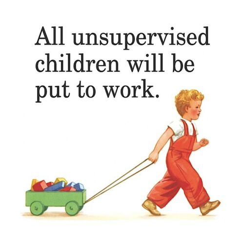 hb All Unsupervised Children Will Be.. coaster funny drinks mat