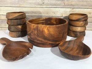Vintage-Wood-Salad-Bowl-Set-MCM-Teak-Danish-Modern-Wooden-Mid-Century