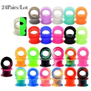 48PCS-Silicone-Gauges-Ear-Plugs-Flesh-Tunnels-Earskin-Expander-24-Colors-SETS