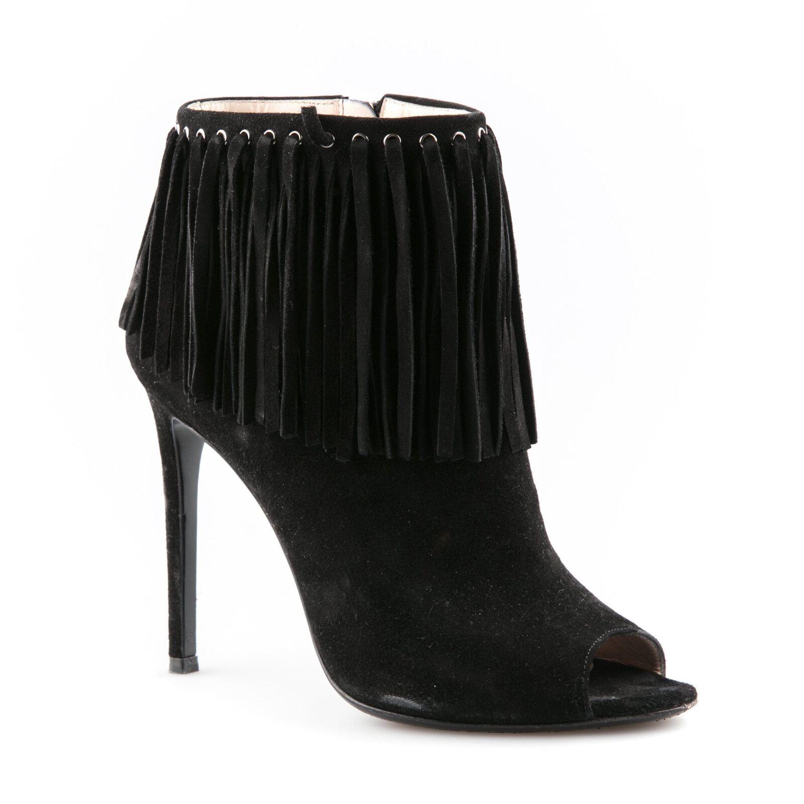Prada Open Toe Suede Fringe Booties - Size 38