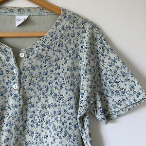 Large-Womans-Vintage-80s-Green-Floral-Henley-Tee-T-Shirt-Top