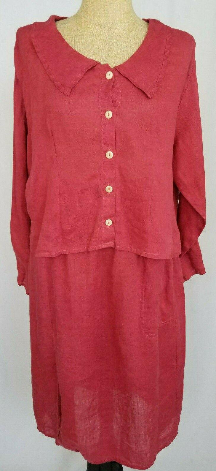 Flax 100% Linen Top Skirt Set Size Medium Red Button Down Long Sleeve Women's