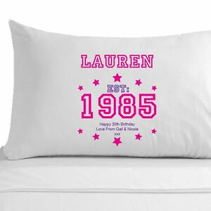 Image Is Loading Personalised 30th Birthday Pillowcase For Her Womens 30