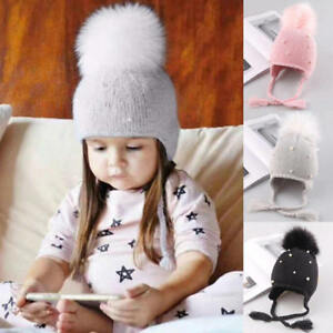 5ae32303f Details about Kids Child Baby Boys Girls Pearl Beanie Hat Winter Warm Knit  Fur Pom Bobble Cap