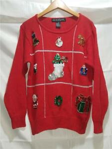 6202d5fc64 Ugly CHRISTMAS Sweater WORK IN PROGRESS Sequins Red Top Size Medium ...