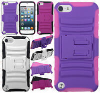 For Ipod Touch 6 6th Gen Rubber Impact Tuff Hybrid Kick Stand Case Phone Cover