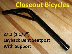 "1/"" Black Bike Laid Back BMX CRUISER Butt Hanger Bicycle Steel Seat Post 25.4mm"