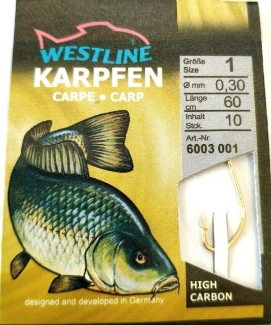 Angelhaken Karpfen 10 Stück gold Westline Karpfenhaken Angel Haken