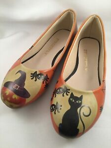 Streetfly-Halloween-Jack-Lantern-Black-Cat-Spiders-Witches-Hat-shoe-pump-flat-37