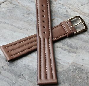 Tan-triple-stitching-19mm-Genuine-Leather-vintage-watch-strap-1960s-70s-NOS-band
