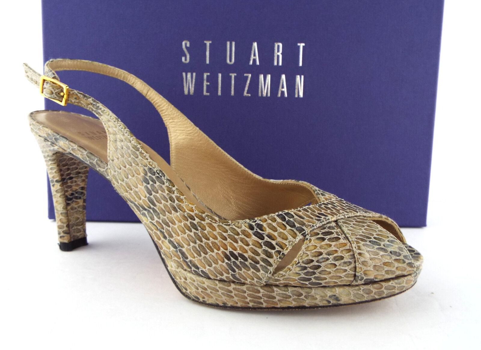 STUART WEITZMAN Size 7.5 Beige Crystal Snake Slingback Heels Pumps Shoes 7 1/2