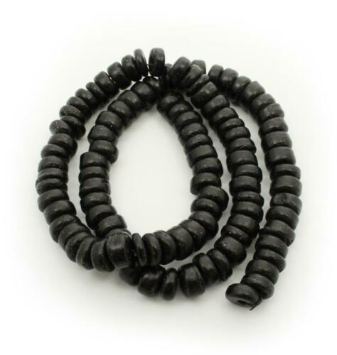 Kokosperlen 7mm schwarz Pukalit 1 Strang Spacer schwarze Perlen