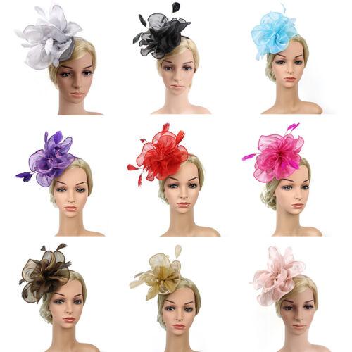Como /_ FJ-Sombrero de Cóctel Tea Party Headwear tocados cabello de plumas Floral de malla CLI