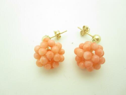 14k Yellow Gold Pink Coral Bead Cluster Dangle Ear