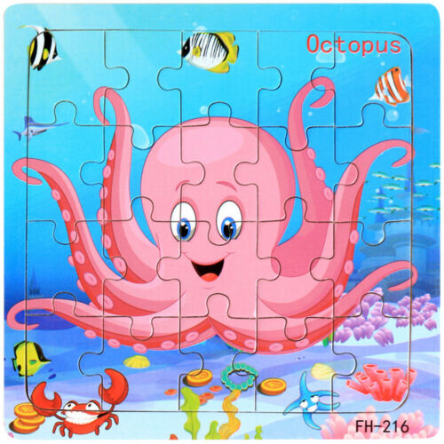 Lot Fun Wooden Puzzle Educational Developmental Baby Training Kids Toy Gifts US