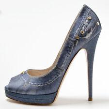 Edel! Casadei High Heels Peep Toes im Jeans-Look | 40 | 15,5 cm | NP 440 EUR
