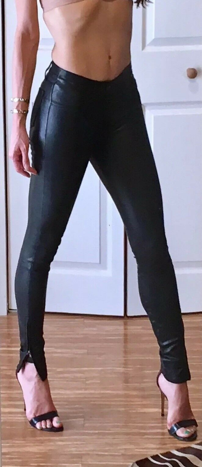 1050 J BRAND L8001  SUPER SKINNY  LEATHER LEGGING, SZ 26 black NEW SEASON TURK