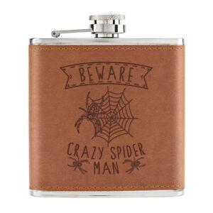 Attention-Crazy-Spider-Homme-170ml-Cuir-PU-Hip-Flasque-Fauve-Papa-Fete-des-Peres